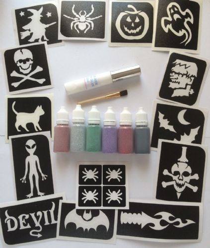 HALLOWEEN GLITTER TATTOO KIT STENCILS/PUFFERS/GLUE GHOST PUMPKIN WITCH SKULL